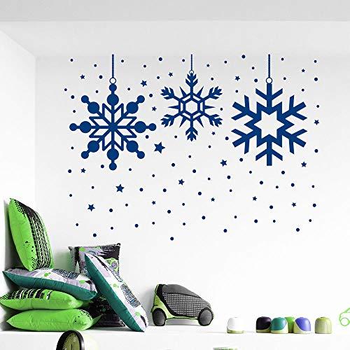 zijn muurstickers, speciale bevroren sneeuwvlok kerst muur sticker vrolijk kerst huis raam kunst decoratie vinyl verwijderbare muur s102x72cm