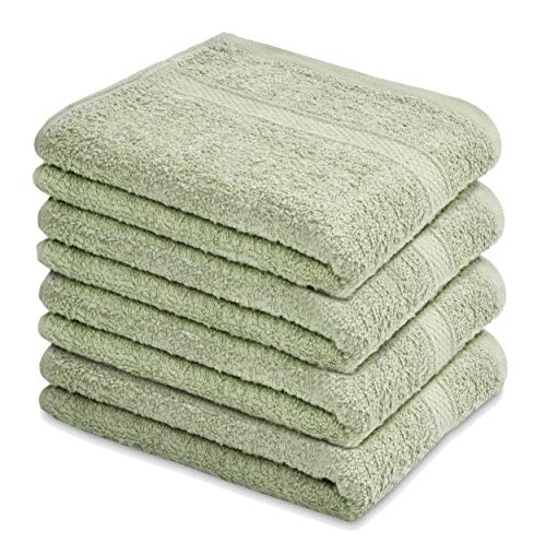 """Talvania Hand Towels 100% Cotton Bathroom Towel Set Hotel Spa Quality 600GSM - Super Soft Absorbent - Use for Home Bath Hand Face - 16"""" X 28"""" - 4 Pack Hand Towel Set (Mint Green)"""