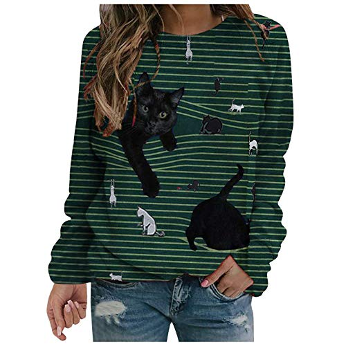 Yowablo Langarmshirt Damen Oberteile Longshirt Casual Lose Pullover Blusen Pullover Blusen Tops Frauen O-Ausschnitt Streifen 3D Cat Printing Lange Ärmel (S,2Grün)