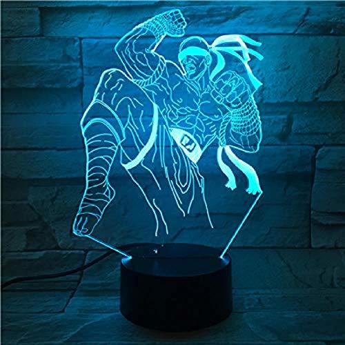 Luz de Noche 3D luz de Noche Visual LED (Personaje del Juego de la Liga de Héroes), 7 Interruptor de Control Remoto táctil del gradiente de Color, decoración Creativa de la Barra del hogar LiQing