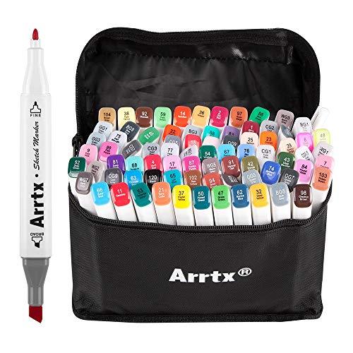 Arrtx 80 Farben Marker Stift, verdoppelt spitzt Graffiti Pens, Marker Pen Set mit f¡§1r Studenten Manga Kunstler Design Schule Drawing Sketch Pen Art Supplies mit Aufbewahrungstasche