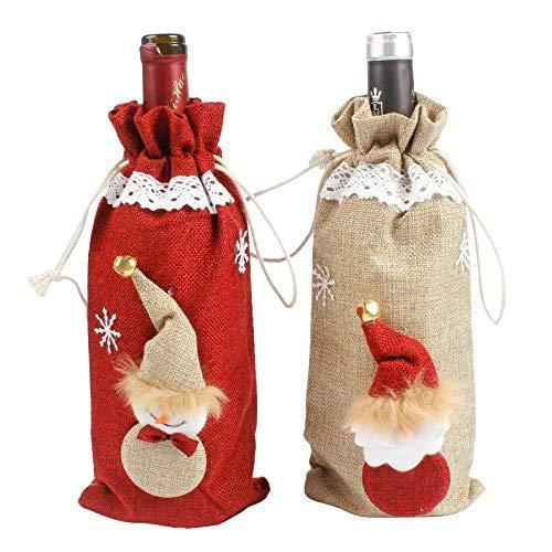 Papá Noel muñeco de nieve Lino Champagne Fundas para botellas de Navidad Vino tinto Fundas para botellas Bolsa Fiesta de Navidad Decoración para el hogar Mesa E9x8cm