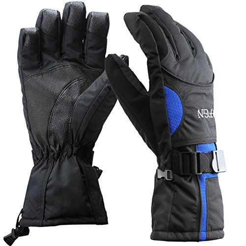 Padida Waterproof Mens Ski Gloves, Breathable Windproof Warm Skiing Snowboard Gloves, Winter Cold Weather Thinsulate Glove (Blue,L)