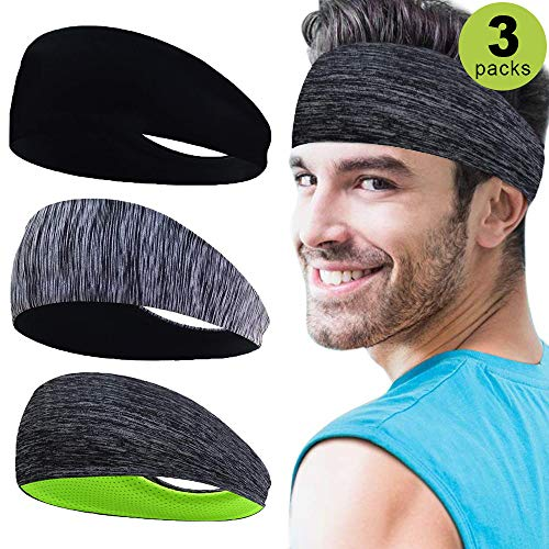Sport Stirnbänder für Herren 3 Packs, Herren Schweißband für Fitness, Training, Laufen, Crossfit, Radfahren, Yoga, Basketball, Fußball, Tennis - Cooling Stretchy Breathable Moisture Wicking