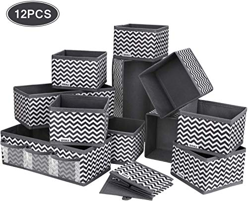 Caja de almacenamiento DIMJ, 12pcs Cajas de almacenamiento de alta calidad de no tejido, almacenamiento de cajones respirables y plegables, organizador de cajones ideal para sujetadores, calcetines, ropa interior, corbatas