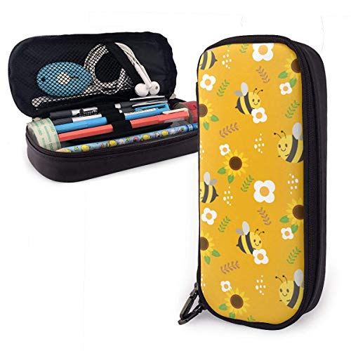 Pencil Case Pen Bag Yellow Cute Bee and Sunflower White Flower Leaf Pencil Case, Large Capacity Pen Case Pencil Bag Stationery Pouch Pencil Holder Pouch with Big Compartments