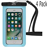 Waterproof Case,4 Pack iBarbe Universal Cell Phone Dry Bag Pouch Underwater Cover for Apple iPhone X 8 plus 7 7 plus 6S 6 6S Plus SE samsung galaxy Note s9 s s8 lus S7 S6 Edge etc.to 5.7 inch,skeyblue