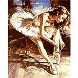 Pintura al óleo de bailarina de ballet por número en lienzo pintura acrílica para adultos dibujo de imagen para colorear por números decoración A16 45x60cm
