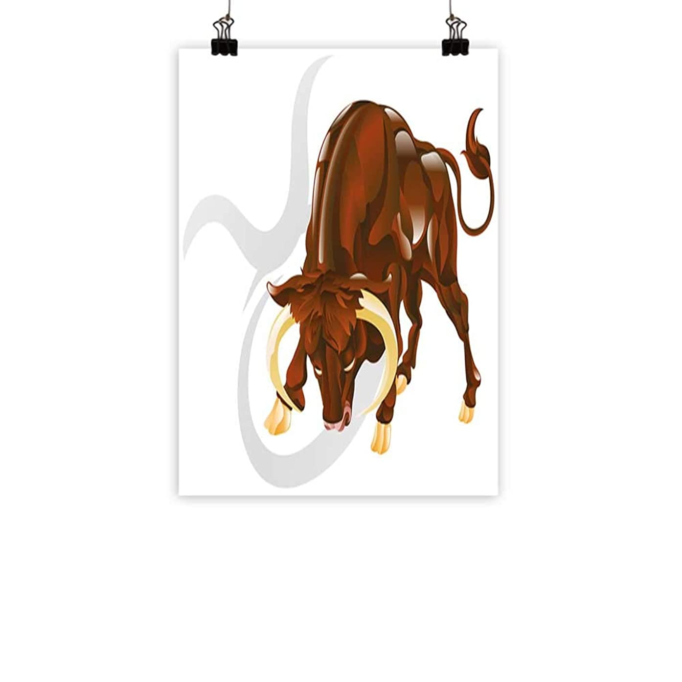 BarronTextile Taurus Modern Oil Paintings Angry Bull Birth Sign Astrology Animal Icon Cultural Western Spirituality Graphic Canvas Wall Art Redwood Cream 16