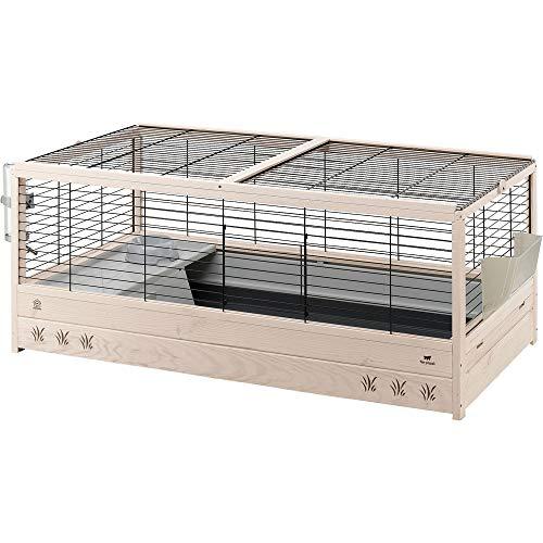 Ferplast 57089717 Holzkäfig für Meerschweinchen und Kaninchen, 125 x 64,5 x 51 cm, schwarz (XL)