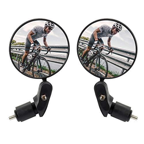 WEFLAIR Espejo retrovisor para Montar en Bicicleta, 2 uds, Espejo retrovisor Giratorio Seguro, HD, instalación de Manillar Ajustable, Espejo Convexo para Bicicletas de Carretera de montaña