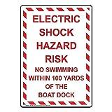 N \ A Cartel retro vintage de metal de 30,5 x 20,3 cm con descargas eléctricas, riesgo de no nadar, peligro, decoración de la casa, valla de patio, letreros de advertencia de precaución