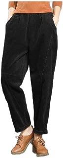 neveraway Women's Asymmetrical Slit Pocket Casual Weekend Corduroy Harem Pants