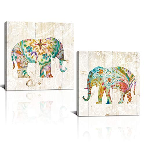 DekHome 2 Panels Elephant Canvas Wall Art Boho Paisley Elephant Prints Colorful Animal Pictures Abstract Wildlife Artwork for Bedroom Living Room Decor Framed Ready to Hang 24'x24'x2pcs