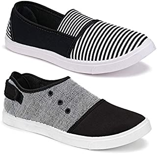 TYING Women's Casual Sneakers Loafers (Pack of 2 Pair)