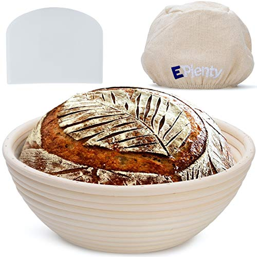 Banneton Bread Proofing Basket, Cloth Liner & Scraper, 9 Inch Round Brotform Bowl For Baking - Premium Quality Rattan