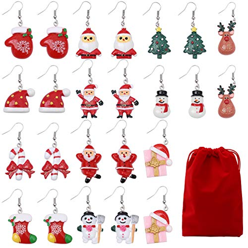 Cooraby 12 pairs Christmas Drop Dangle Earrings Women Girls Cute Christmas Drop Dangle Earrings Set with red Velvet Storage Bag for Christmas Women Girls Kids Christmas Gifts