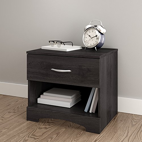 South Shore Step One 1-Drawer Nightstand-Gray Oak