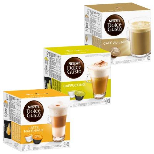 Nescafé Dolce Gusto Cream Set: Latte Macchiato, Cappuccino, Au Lait, Kaffee, Kaffeekapsel, 3 x 16 Kapseln