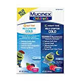 Cold & Cough, Mucinex Children's Multi-Symptom Day/Night Liquid, Very Berry, 8oz (2x4oz) Relieves Nasal & Chest Congestion, Thins & Loosens Mucus, Controls Cough, Reduces Fever, Soothes Sore Throat