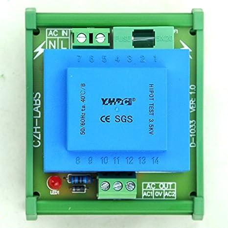 in: 115VAC, Out: 12VAC DIN Rail Mount Power Transformer Module Electronics-Salon 5 Watt VA
