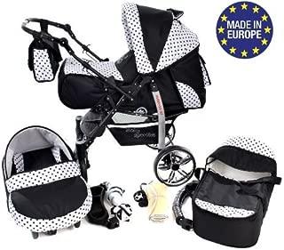 Kamil silla de paseo RUEDAS EST/ÁTICAS y accesorios carrito con capazo y silla de coche Sistema de viaje 3 en 1, negro, turquesa Sistema de viaje 3 en 1