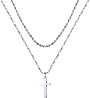 Ursteel Cross Necklace for Men, Stainless Steel Silver Black Gold Layered Rope Chain Cross Pendant Necklace Simple Jewelry...