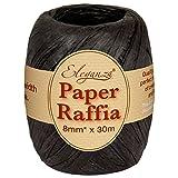 Eleganza, 8 mm x 30 m, Paper Raffia per Un'Ampia Gamma di progetti creativi e per pacchi Regalo, No.20, Colore: Nero