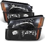 For Avalanche Body Cladding Model Black Bezel Headlights Front Lamps + Bumper Signal Lights Lamps Set