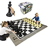 """EasyGoProducts EGP-TOY-018 EasyGo Giant Mat Chess Indoor Outdoor Large Yard Lawn Family Game –– Pieces Range from 6""""–10"""" Inches Tall, 5 Feet x 6 Feet"""