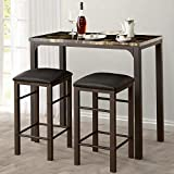VECELO 3-Pieces High/Pub Table Set with 2 Bar Stools, Black