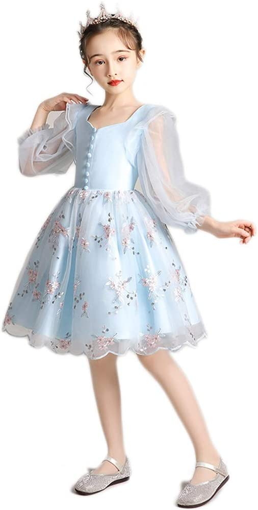 TONG Birthday Girl Princess Flower Girl Dress Kids Western-Style Wedding Dress High Pompon Yarn Dress Girls Host Soft (Color : Blue, Size : 90cm)
