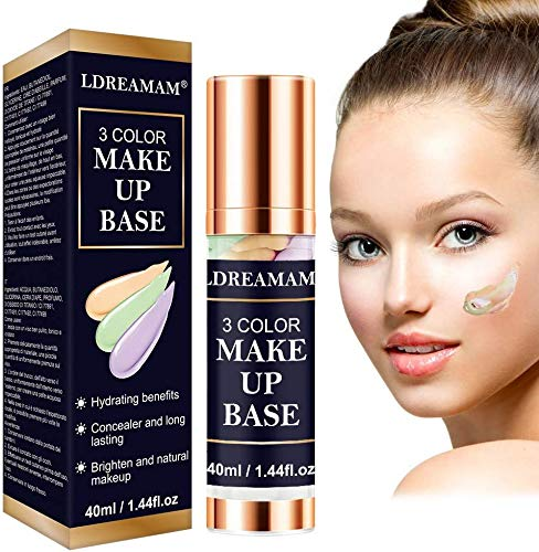 Make Up Basis, Makeup Primer, Flüssige Grundierung, Flüssiges Make-Up, Concealer-Abdeckung, Concealer Grundierung Highlighters 3 in 1 Langanhaltende flüssig Foundation