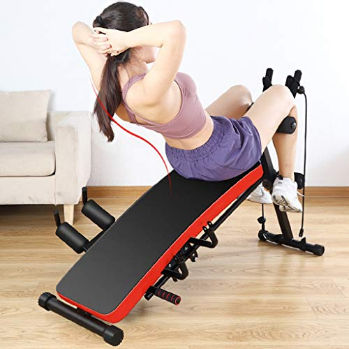 Dengken 6-in-1 Adjustable Benches Sit Up Abdominal Bench Gym Ab Fitness Waist Exercise Multifunctional Home Adjustable Weight Foldable Workout Weight Press with Display Muscles Burning Body Fat