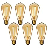 Lamparas Bombillas LED de Filamento de Edison E27 6W ST64 Decorativas Retro LED Luz Calida 2400K COB LED de Filamento Largo para Lámpara Colgante Techo Pack de 6 de Enuotek