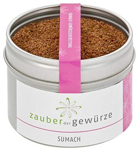 Zauber der Gewürze Sumach - Gewürzzubereitung in Premium-Qualität - Orientalisches Gewürz in Aromadose - Lahmacun-Gewürz, für Reis-Gerichte, Salate - Geschenk-Idee, 60g