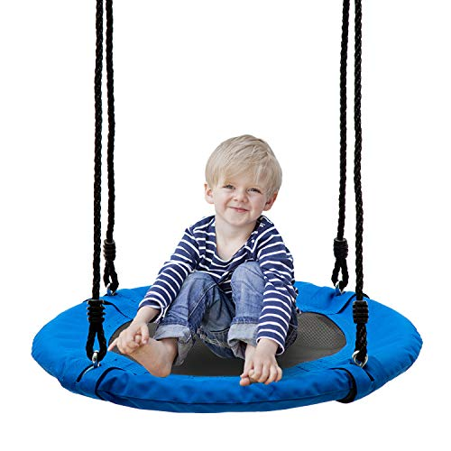 walsport 24 in Saucer Swing Flying 330 Pound Weight Capacity Safe and Durable Swing Seat Hanging Tree for Kids Adults Outdoor Garden Backyard Blue