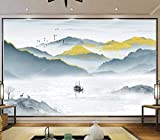 3D-Hintergründe Wandbild Wanddekoration Moderne helle abstrakte goldene Luxusmalerei der chinesischen Art Fernsehhintergrund-Wanddekoration des Landschaftswohnzimmersofas Fototapete -...