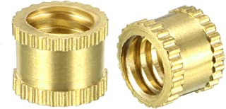 uxcell Knurled Threaded Insert, 1/4 inches-20 x 6mm L x 8mm OD Female Thread Brass Embedment Nuts, Pack of 10