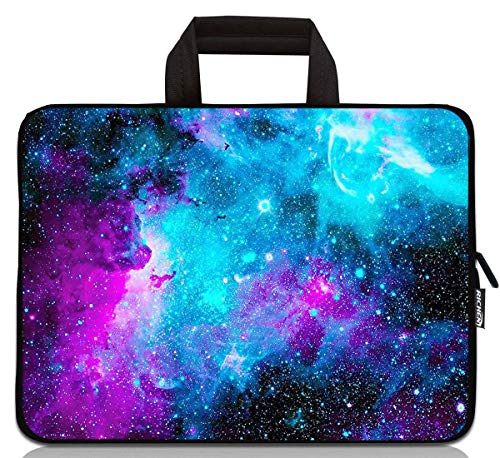 15 inch Neoprene Laptop Carrying Bag Chromebook Case Notebook Ultrabook Bag Tablet Travel Cover with Handle Zipper Carrying Sleeve Case Bag Fits 14 15 15.4 inch Netbook/Laptop (14-15.4 inch, Galaxy)