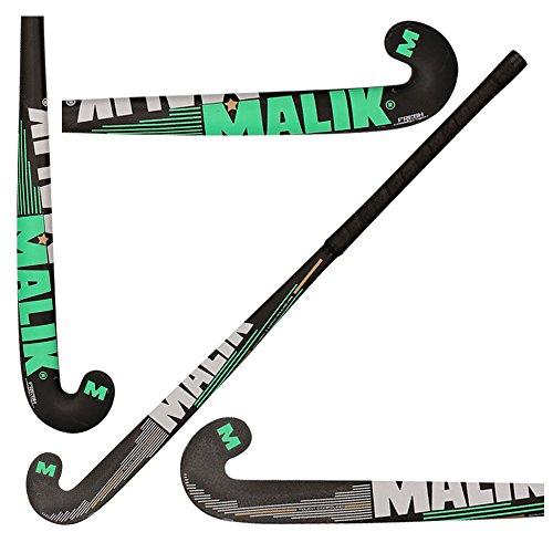 Malik Feldhockeyschläger, Größen 95,2 cm, 92,9 cm, Outdoor-Composite-Karbonfaser- und Holz-Senior-Profi-Schläger, Schwarz Golden Silber, 36.5
