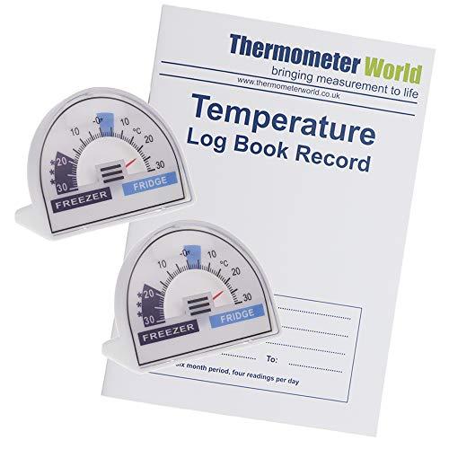 Journal de température avec 2 cadrans de thermomètre de réfrigérateur avec zones de température recommandées