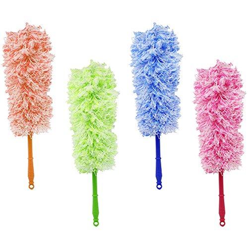 COM-FOUR® set van 4 microvezel plumeau met ophanggat, in 4 verschillende kleuren, 57 cm (04 stuks - roze/blauw/oranje/groen)