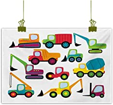 Modern Frameless Painting Cute Style Vehicles and Heavy Equipment Forklift Earthmover Excavator Mixer Multicolor Home and Everything 20