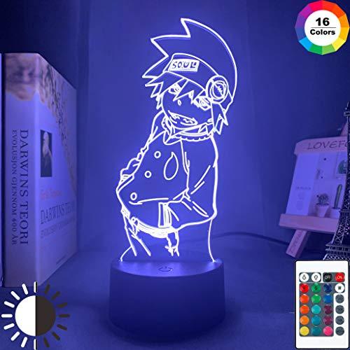 Acrílico Anime Soul Eater Figura Soul Eater Night Light 3D LED Lámpara de mesa niños regalo de cumpleaños decoración de la habitación junto a la cama