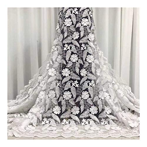 Cjcaijun Bordado de impresión de tela de encaje Últimas africanas francesas netas tela de encaje con piedras y granos for la boda vestidos largos (Color : As Picture4)