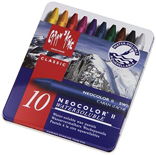 Caran d'Ache: Neocolor II: Crayon de acuarela: 10 en una caja de metal