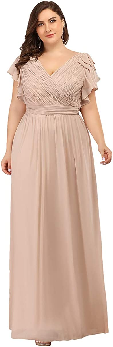 Ever-Pretty V Neck Short Sleeve Pleated Chiffon Formal Evening Party Dress 7709-PZ