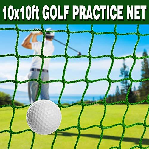 Ediors 10 x 10 ft Golf Sports Practice Net, Golf Ball Baseball Softball Hitting Netting, Golf Backstop Net, High Impact Golf Net Batting Cage Net for Outdoor Backyard Garage Indoor (Green)