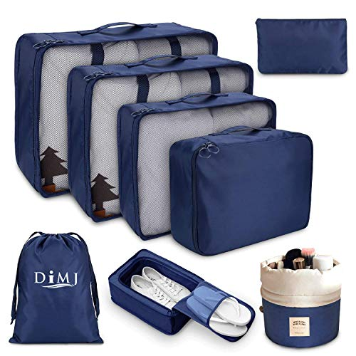 DIMJ 8 PCS Packing Cubes for Suitcase, Travel Luggage Organiser Set Travel Essentials Bag Clothes Shoes Cosmetics Toiletries Cable Storage Bags (Navy Blue a)